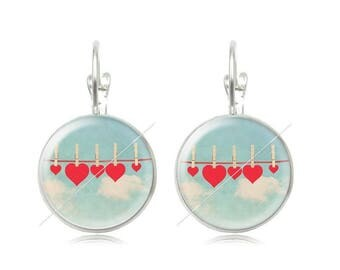 Earrings sleepers heart clouds 18mm cabochons