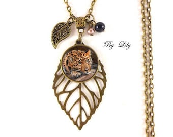"""""""Feline Leopard fur Fawn"""" necklace, retro pendant cabochons!"""