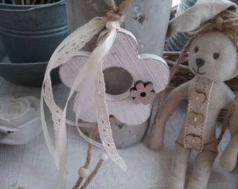 Wood, Ribbon and lace flower garland