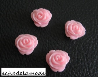 set of 4 pink roses flowers resin craft 10 mm