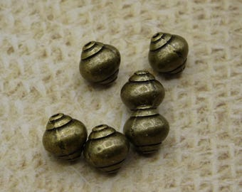 10 beads smooth metal antique bronze 8mm