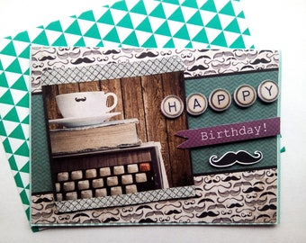 "Card ""Happy Birthday mustache"""