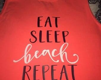 Eat, Sleep, Beach, Repeat Comfort Color Tank Top