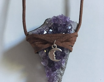 Brown Faux Suede Amethyst Wrap with Crescent Moon