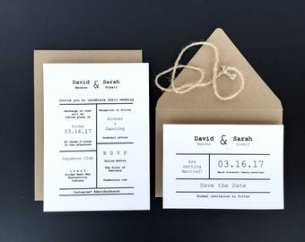 Minimalist Typewriter Wedding Invitation