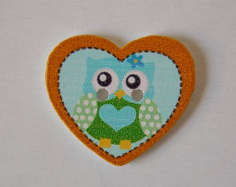 Button heart owls ❥ wooden two holes