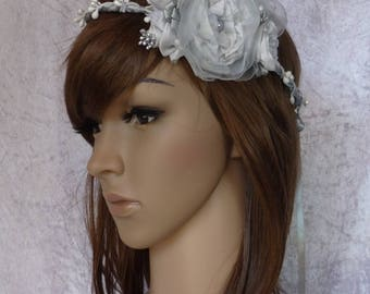 Bridal Crown, headband couture gray Pearl