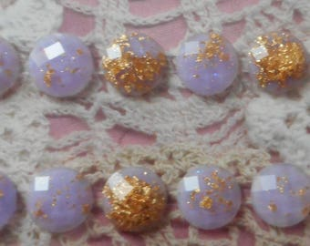 Tape adhesive purple cabochons and glitter gold resin for customization