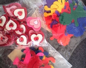 Promotion set of 56 felt wallets: 12 boys and girls 24 20 hearts