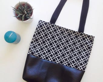 Tote black and white geometric