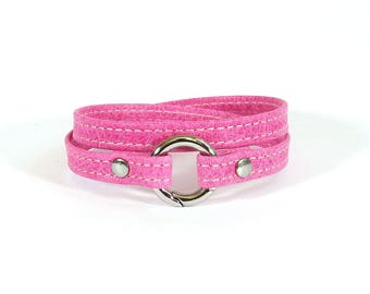 Bracelet pink leather stitched - stainless steel clasp - women leather bracelet