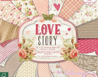 "Set of 16 sheets 30.5 X 30.5 cm ""Love Story"" background papers (ref.110). *."