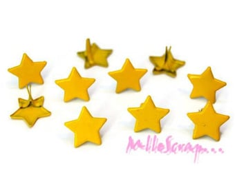 Set of 10 yellow stars 13 mm embellishment scrapbooking brads *.