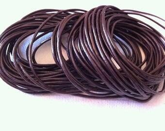Brown genuine leather Brown cord coffee in 1.5 mm in diameter