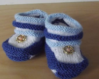 slippers in wool style sailor baby from 0-3 months