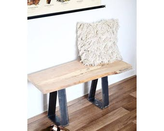 Wooden bench, Entrance bench, rustic bench, triangle steel seat, modern settee, reclaimed wood bench