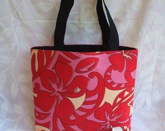 Red and pink Tahitian fabric Tote