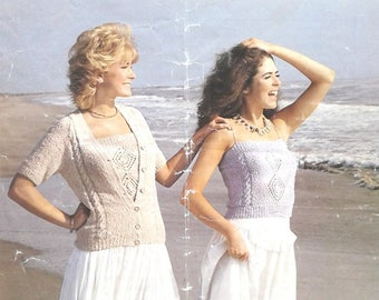 Ladies knitting short sleeved cardigan and camisole top  vintage knitting pattern PDF instant download