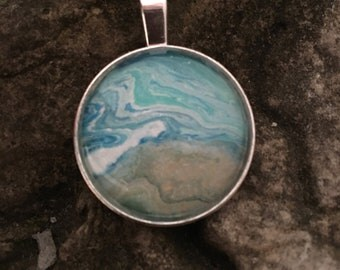 Handcrafted One of a Kind Acrylic Fluid Art Pendant
