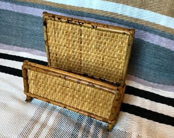 Rattan and wicker napkin holder