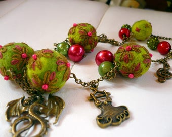 necklace made of beads, wool felted and embroidered green and pink/red