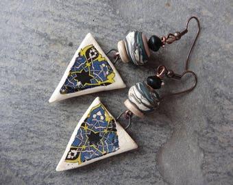 "Earrings ""mosaic"" rustic antique - ceramics, bead spun torch, wood"