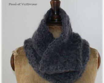 Slate gray crocheted Snood