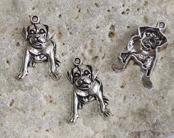 3 Silver dog charms 26 X 18 mm
