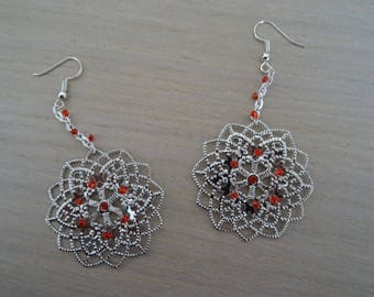 Flower Earrings decorated with red beads