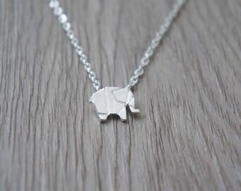 So origami - silver Elephant pendant necklace
