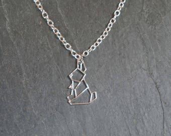So origami - silver rabbit pendant necklace