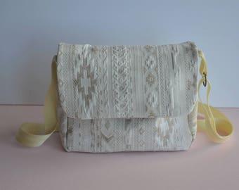 Messenger bag, Crossbody, beige cotton, ethnic pattern
