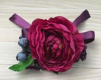 Hand corsage, wrist corsage, bridesmaid corsage, prom corsage, floral bracelet, pink