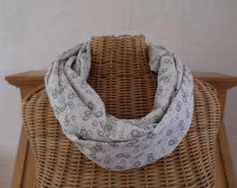 ecru snood with beige and grey flowers