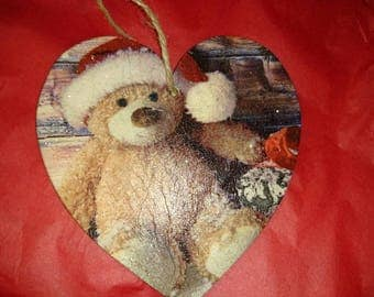 Santa Teddy Hanging Heart Decoration, 20cm Wooden hanging heart, Christmas decoration, Cute gift idea for a child or a romantic idea for her