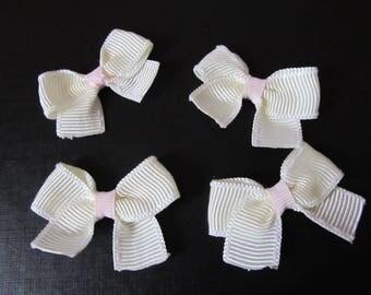 Set of 4 handmade off white bows
