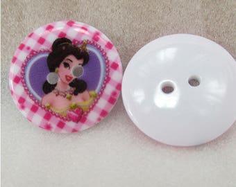 Set of 5 Disney Princess resin buttons