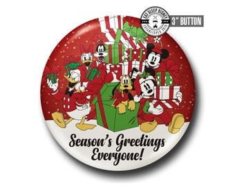 """Mickey Mouse and Friends - Season's Greetings - 3"""" Button"""