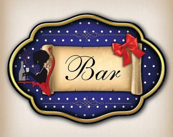 Vintage bar 008 dot door sign decal