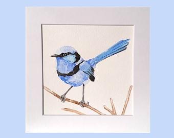 Bird painting, blue bird artwork, bird watercolour, watercolour painting, conservatory art, Australian bird, Fairy Wren, original bird art