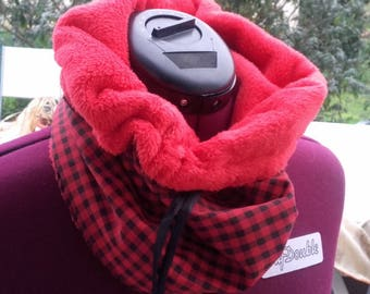 Snood red Plaid scarf for women and teen girls in winter