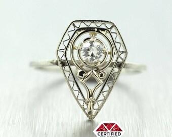 1930s Antique Art Deco 14k Solid White Gold 0.10ct Diamond Conversion Ring
