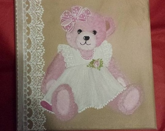 hand painted pink Teddy bear painting