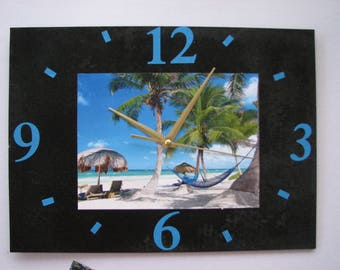 Clock / slate wall clock: Beach