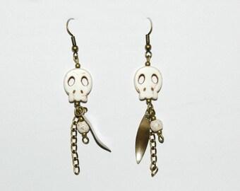 Cream dangle earrings - Indian Spirit