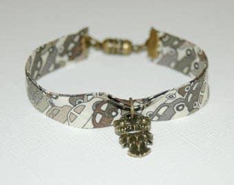 Fabric bracelet Liberty Cars beige and khaki