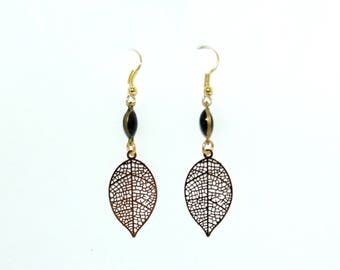 Black and Golden autumn leaf earrings