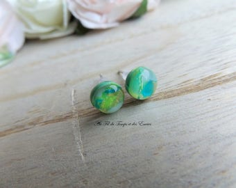 Stud Earrings mini , Peacock round pearl