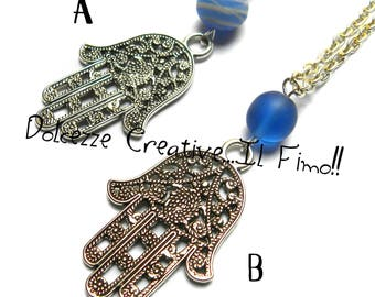 MODEL A - hand of Fatima with blue beads necklace - handmade