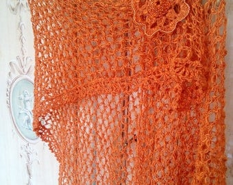 linen crochet summer shawl stole embroidered flower brooch with hand-beaded wedding stoles Orange